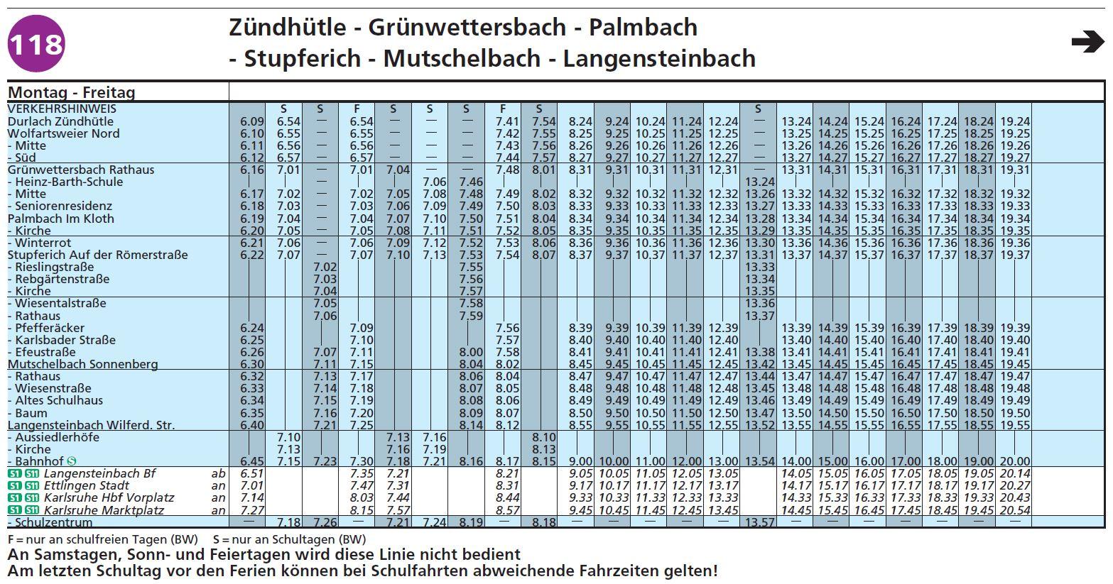 Fahrplan Linie 118 Zündhütle bis Langensteinbach