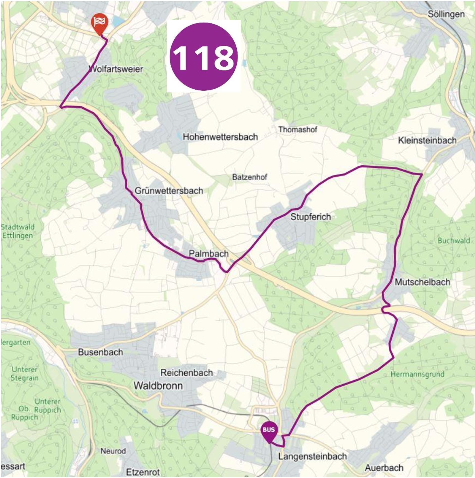 Buslinie 118 Langensteinbach - Zündhütle