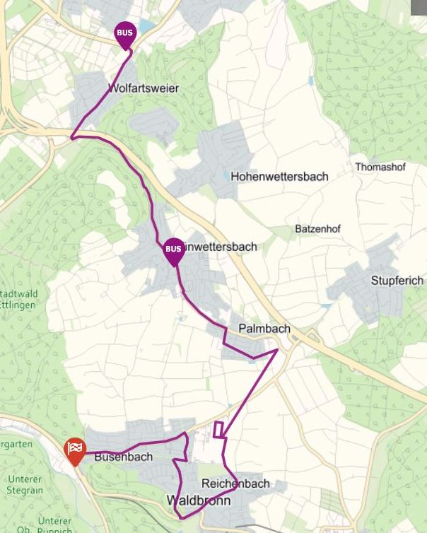 Linie 47 + 117 Zündhütle über Palmbach nach Waldbronn