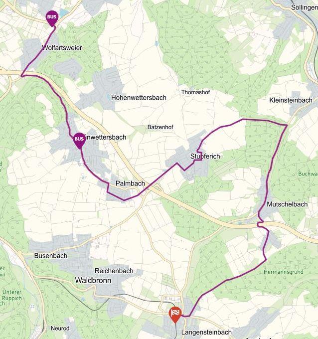 Linie 47 + Linie 118 vom Zündhütle nach Langensteinabch und zurück