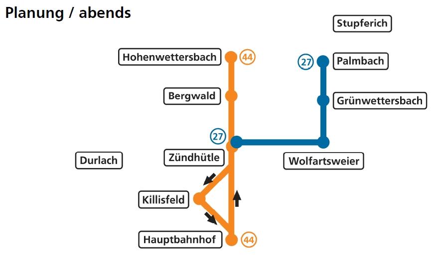 Linienführung L 27 und L 44 abends