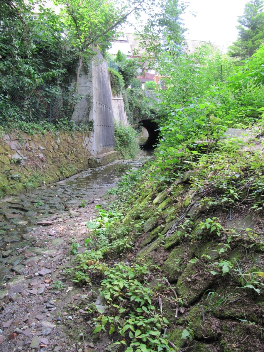 Der Wetterbach in der Ortsmitte Grünwettersbach